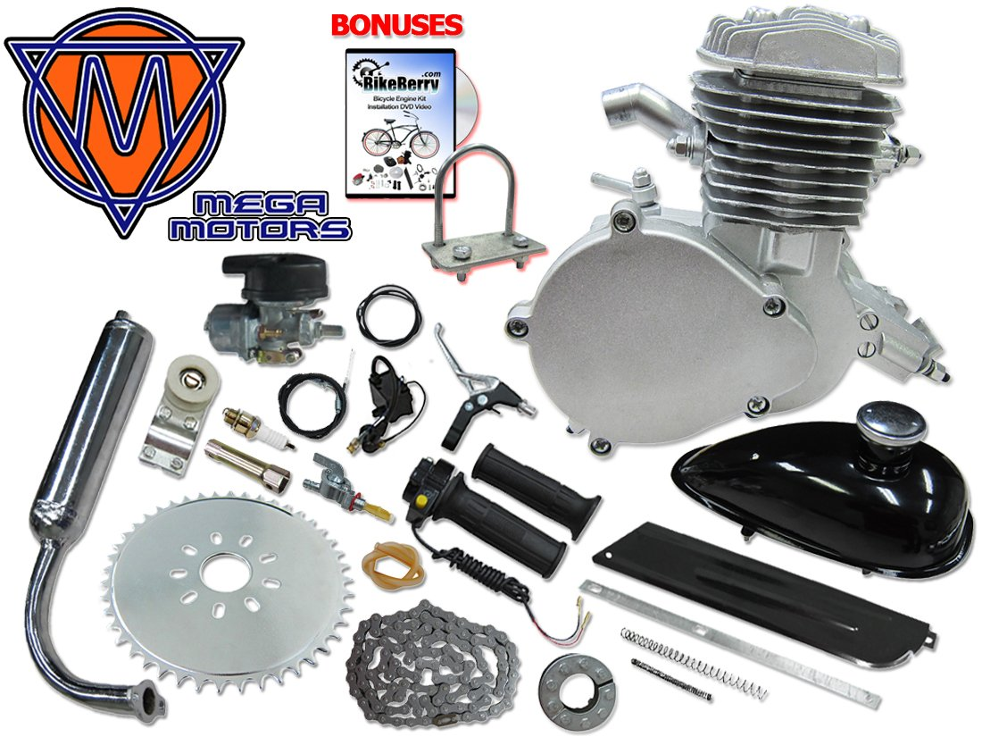 Amazon.com: 66/80cc Mega Motors Silver Bicycle Engine Kit- 2 Stroke:  Automotive