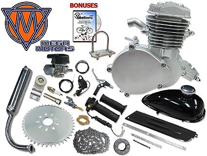 amazon com 66 80cc mega motors silver bicycle engine kit 2 stroke rh amazon com