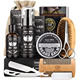 Isner Mile Beard Kit for Men, Grooming & Trimming Tool Complete Set with Shampoo Wash, Beard Care Growth Oil, Balm, Brush, Co