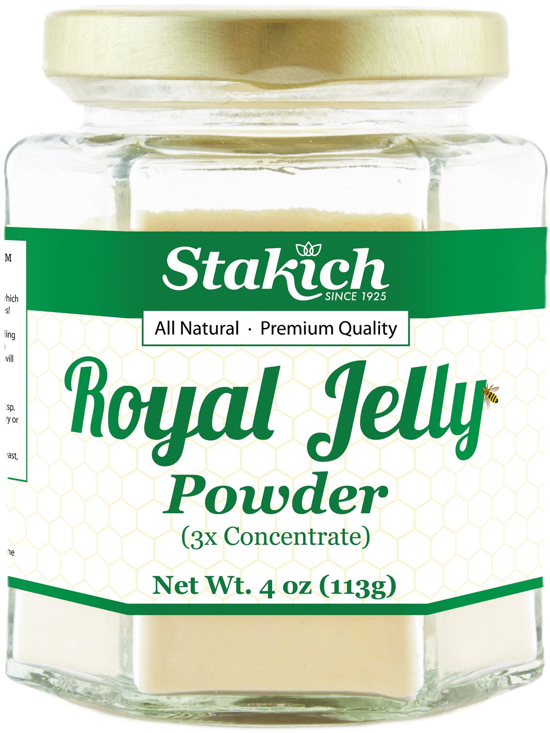 Stakich Freeze Dried FRESH ROYAL JELLY Powder 4 oz (112 g) - 3X Concentrate, 100% Pure, Premium Quality, High Potency -