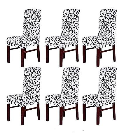 HMwish 6 Pezzi Coprisedia con Schienale, Moderne Universale Coprisedie  Elasticizzato Cucina Salotto Coprisedie Sala da Pranzo Bianco Nero