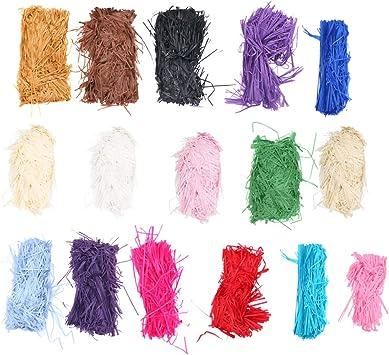 Healifty papel de corte arrugado triturar relleno de rafia hebras de papel relleno de caja de embalaje de confeti arrugado relleno para cestas de regalo de navidad relleno de 16 paquetes: Amazon.es: