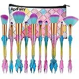 AprFairy Mermaid Makeup Brushes Set 10pcs with Pink Plaid Makeup Bag