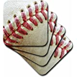 3dRose cst_47841_1 Close-Up Red Seams on Baseball-Soft Coasters, Set of 4