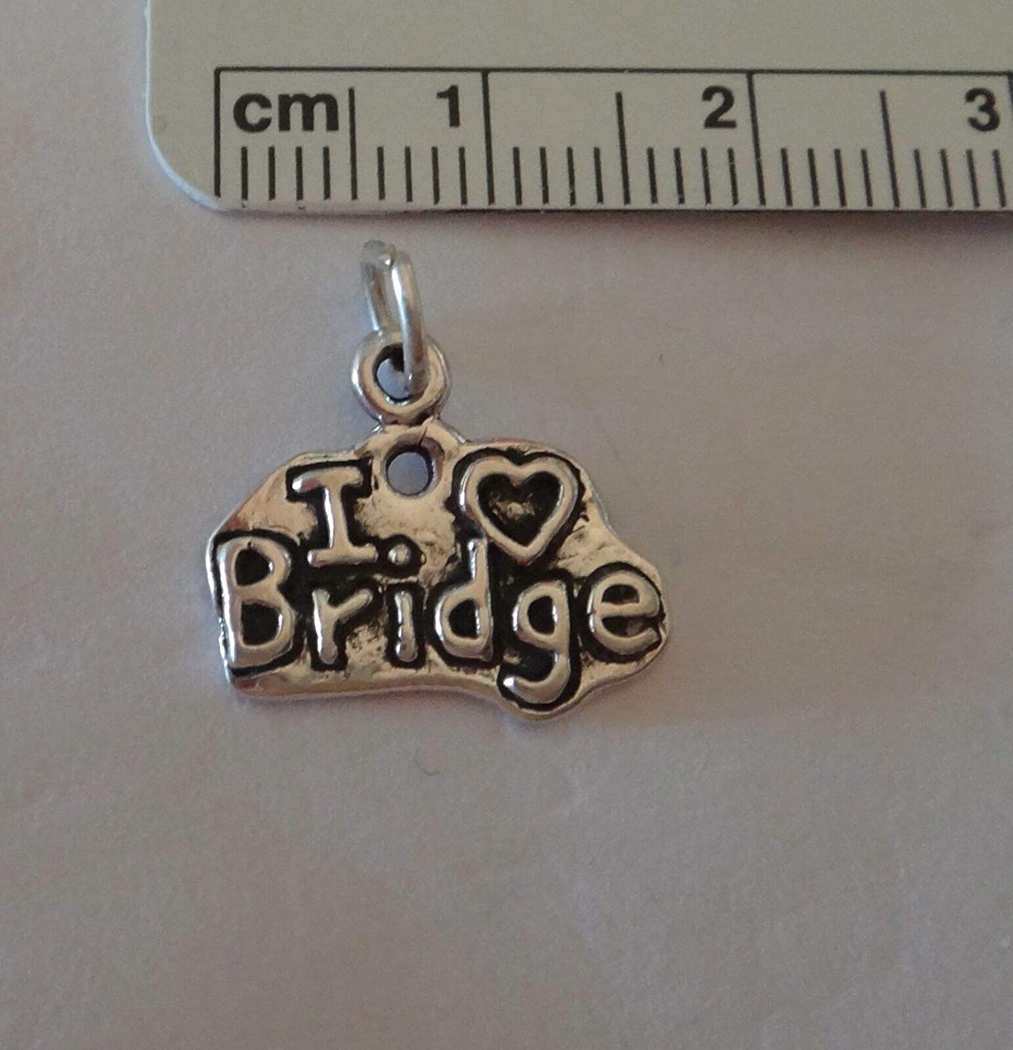 Heart Card Game Bridge Fine Charms Sterling Silver 13x16mm says I Love