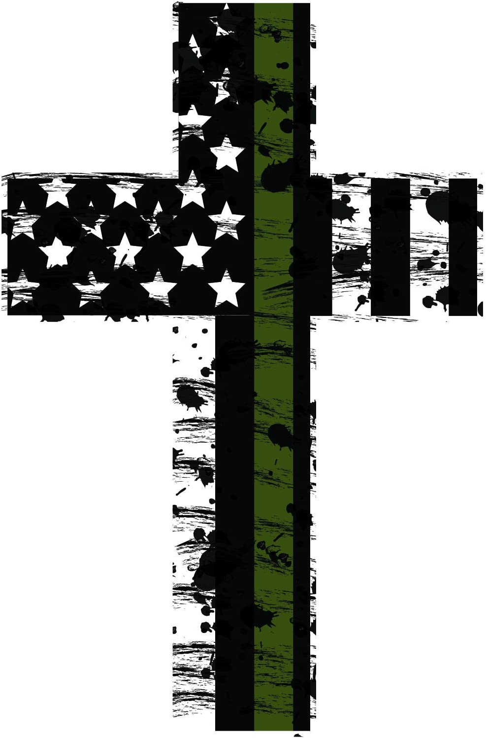 K9King Thin Green Line Crosses (2) Subdued Us Flag Reflective Decal.