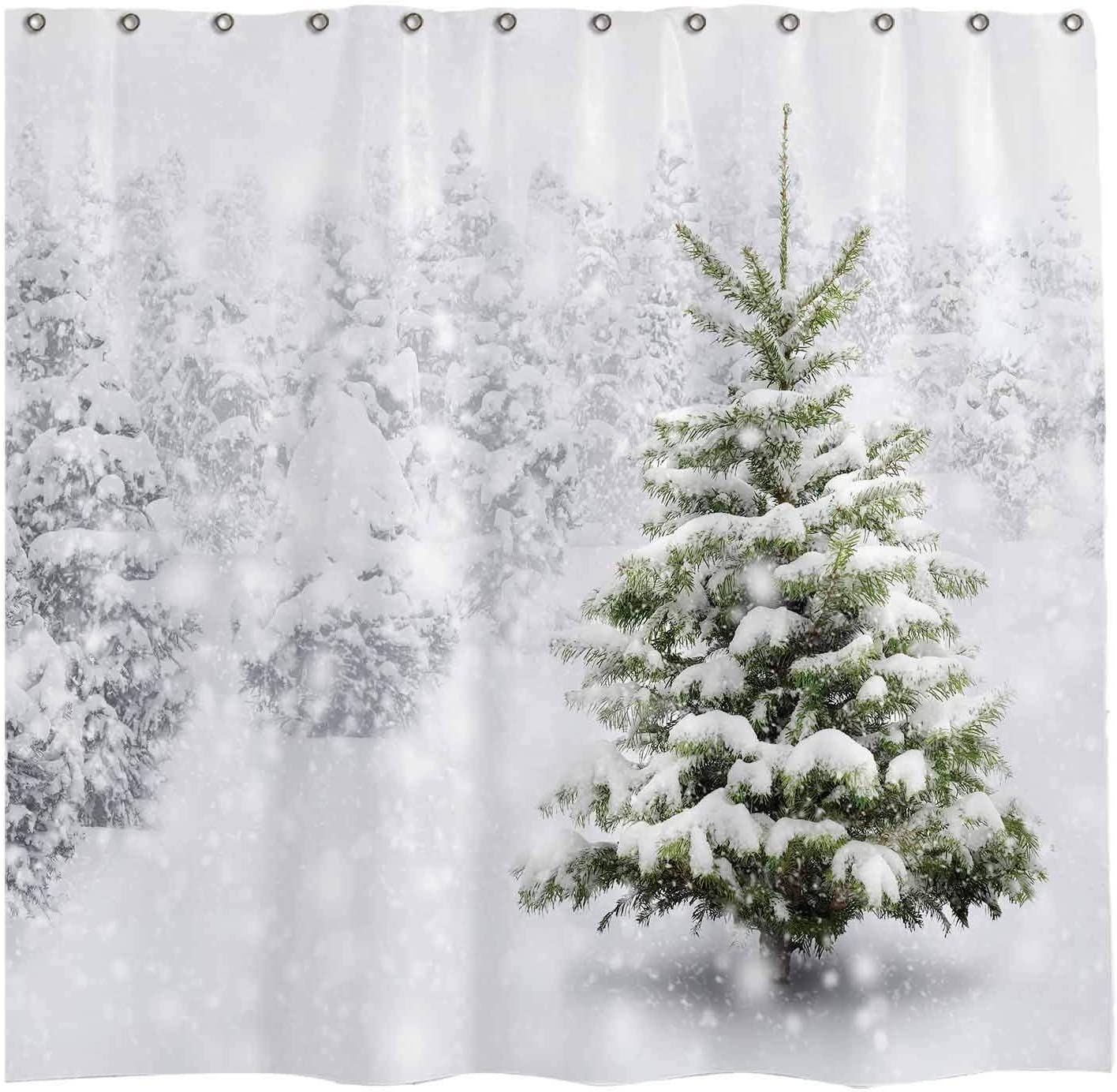 Allenjoy 72x72 inch Christmas Shower Curtain Set with 12 Hooks Natural Winter Forest Snowflake Snowfall Bathroom Curtain Durable Waterproof Fabric Bathtub Sets Home Decor