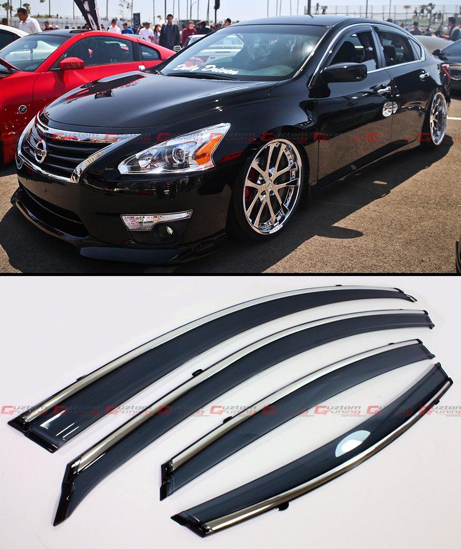 Cuztom Tuning Premium Smoke Tinted Window Visor RAIN Guard Deflector W/Clips & Chrome Trim for 2013-2015 Nissan Altima 4 Door Sedan