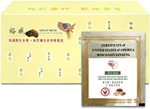 Yu Wei Ginseng - American Ginseng Tea with Goji Berries and Brown Rice(7.5g x 30 Bags) Ginseng Board of Wisconsin Certified