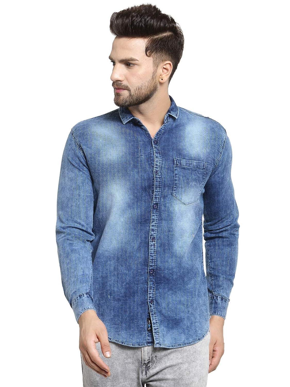 ecf20d49ba5 Pacman Indigo Dark Colour Denim Slim Fit Mens Cotton Shirt SHFS0110   Amazon.in  Clothing   Accessories
