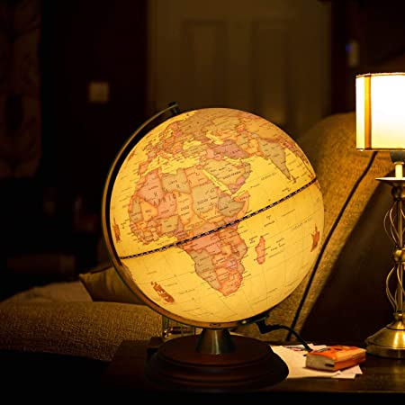 Ttktk Illuminated World Globe For Kids With Wooden Stand Built In Led For Illuminated Night View Antique Globe For Home Décor And Office Desktop 8inch Toys Games