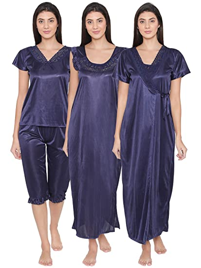 Clovia Women s Nightdress (NSM236G08O Blue Free Size)  Amazon.in ... 7f38a4379