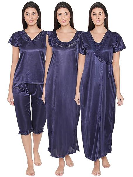 Clovia Women s 4 Pcs Satin Nightwear In Navy - Robe a55891529