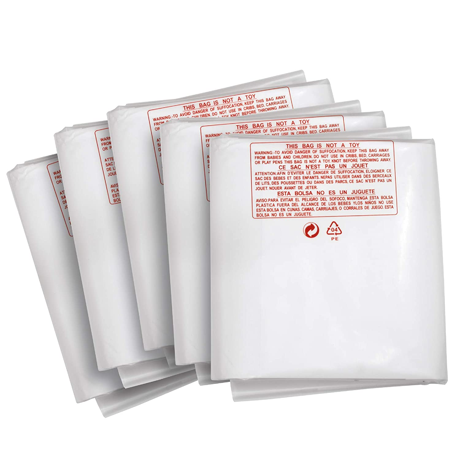 "Clear Plastic Dust Collector Replacement Bag 5 Pack 20"" Diameter by 43"" Long For Machines with 20"" Filter Drums 5 mil Thick"