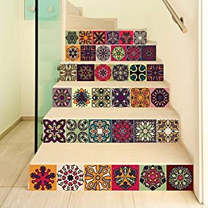 """FLFK 3D Self-Adhesive Traditional Talavera Tile Stickers-Peel and Stick Kitchen Spanish Tile Decals- Removable Stair Stickers for Home Decor 39.3"""" w x 7"""" h x 6 pcs"""