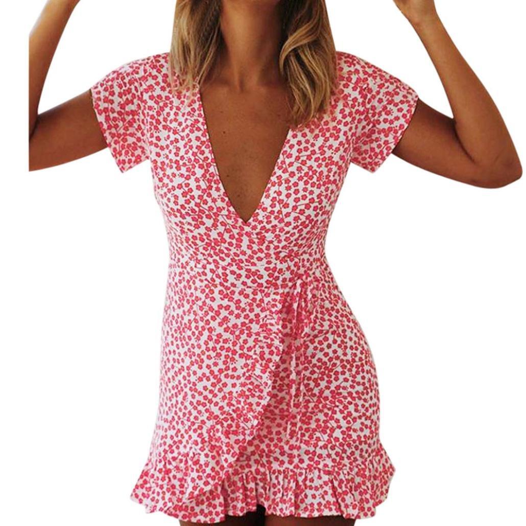 9b58d7884fd21 Minisoya Women Summer Sundress Short Sleeve Casual Deep V Irregular Floral  Dress Evening Party Pleated Tunic Mini Dress at Amazon Women's Clothing  store: