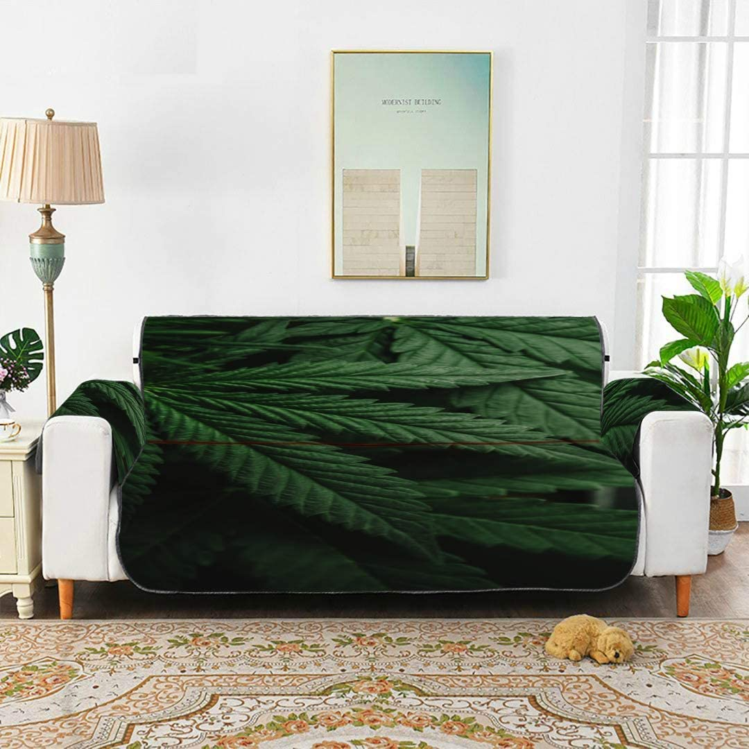 WDDHOME Hojas de Marihuana Cannabis On Dark T Cojín Fundas de sofá Sofá Silla de Comedor Funda de sofá Cojines de Asiento 66