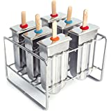 kingleder Stainless Steel Ice Lolly Popsicle Molds Kit - 6 Ice Pop Makers With Holder Base + 50 Reusable Bamboo Sticks + 16 Silicone Seals + 20 Pop Bags + Cleaning Brush