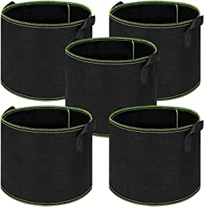 Plant Grow Bags 5 Gallon 5 Pack,Fabric Planting Pots Durable Handle Heavy Duty Thickened Non-Woven Smart Pot for Planting Potato,Tomato,Carrot,Onion & Flower