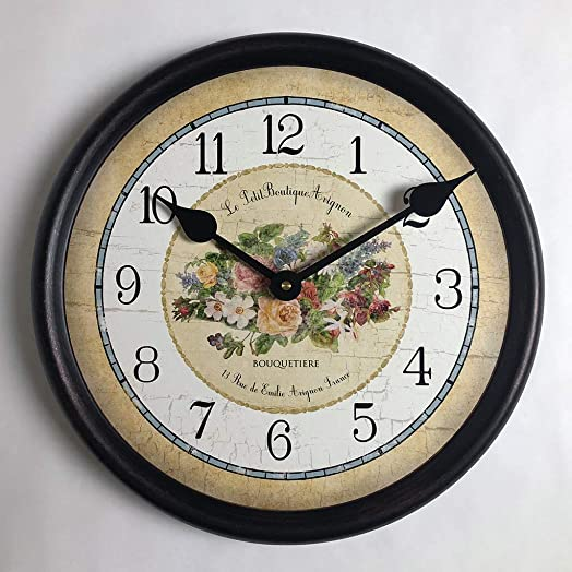 Emilie Floral Wall Clock, Available in 8 Sizes, Most Sizes Ship The Next Business Day, Whisper Quiet.