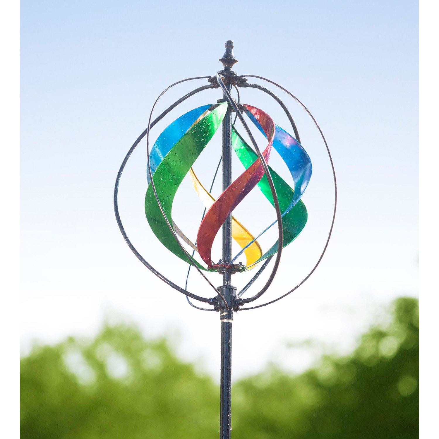 Evergreen 89-inch Multi-Colored Outdoor Safe Kinetic Hydro Spinner Lawn Watering Garden Stake