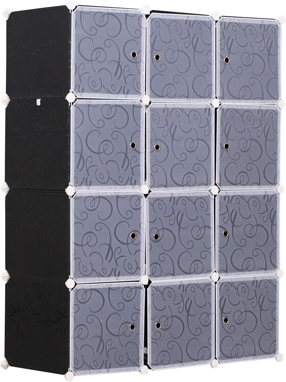 HOMCOM Armario Modular Plástico Estantería 12 Cubos con Puertas para Almacenamiento de Ropa Armario Ropero Organizador para Almacenamiento Juguetes y Libros Montaje en Bricolaje 111x47x145cm: Amazon.es: Juguetes y juegos