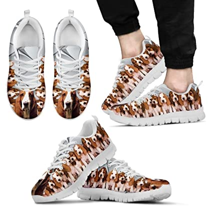 b40d6587bb92 Basset Hound With Puppies Dog Running Shoes - Dog Lovers Gifts - Custom  Print Design Athletic Tennis Shoes Sneakers - Pet Owner Lover Gift Ideas-  Men s ...