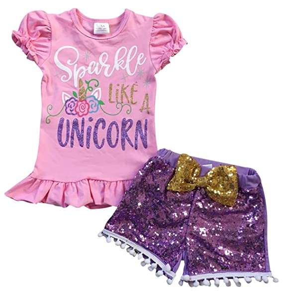 f1a9d7d1ef47 Amazon.com: Toddler Girls 2 Pieces Short Set Sparkle Like A Unicorn Sequin  Outfit Clothing Pink Sequin 12M XXS (P501331P): Clothing