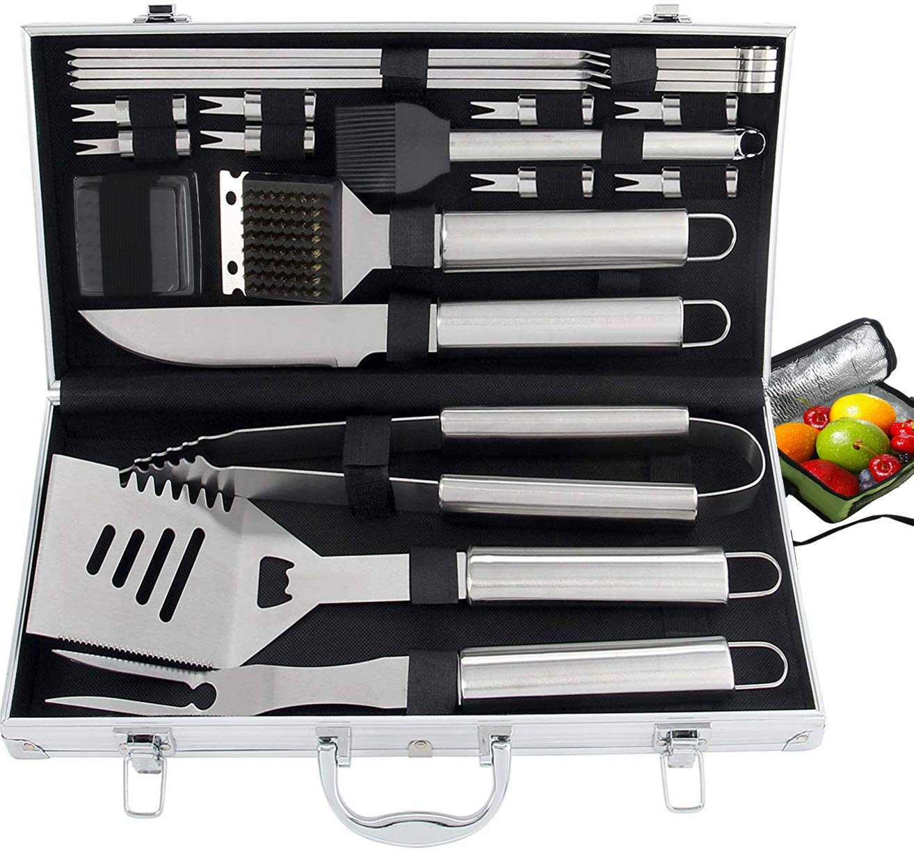 ROMANTICIST 21pc Heavy Duty BBQ Grill Tool Set with Cooler Bag – Great Grill Gift Set for Men Women on Birthday Wedding – Outdoor Camping Tailgating Barbecue Grill Accessories in Aluminum Case