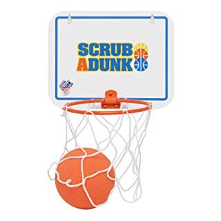 The Dunk Collection Scrub-A-Dunk - The Bathtub Basketball Hoop for Baby Ballers, Blue/Orange