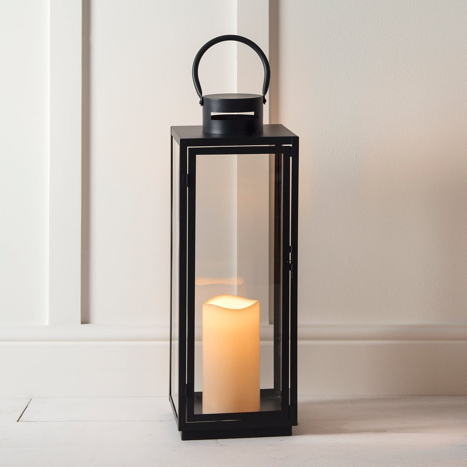Lights4fun Large Candle Lantern Tall Black Metal Outdoor Battery Operated Led With Timer 65cm Amazon Co Uk Kitchen Home