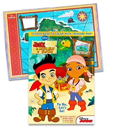 Jake The Never Land Pirates Sticker Book To Color With Treasure Map Yo Ho