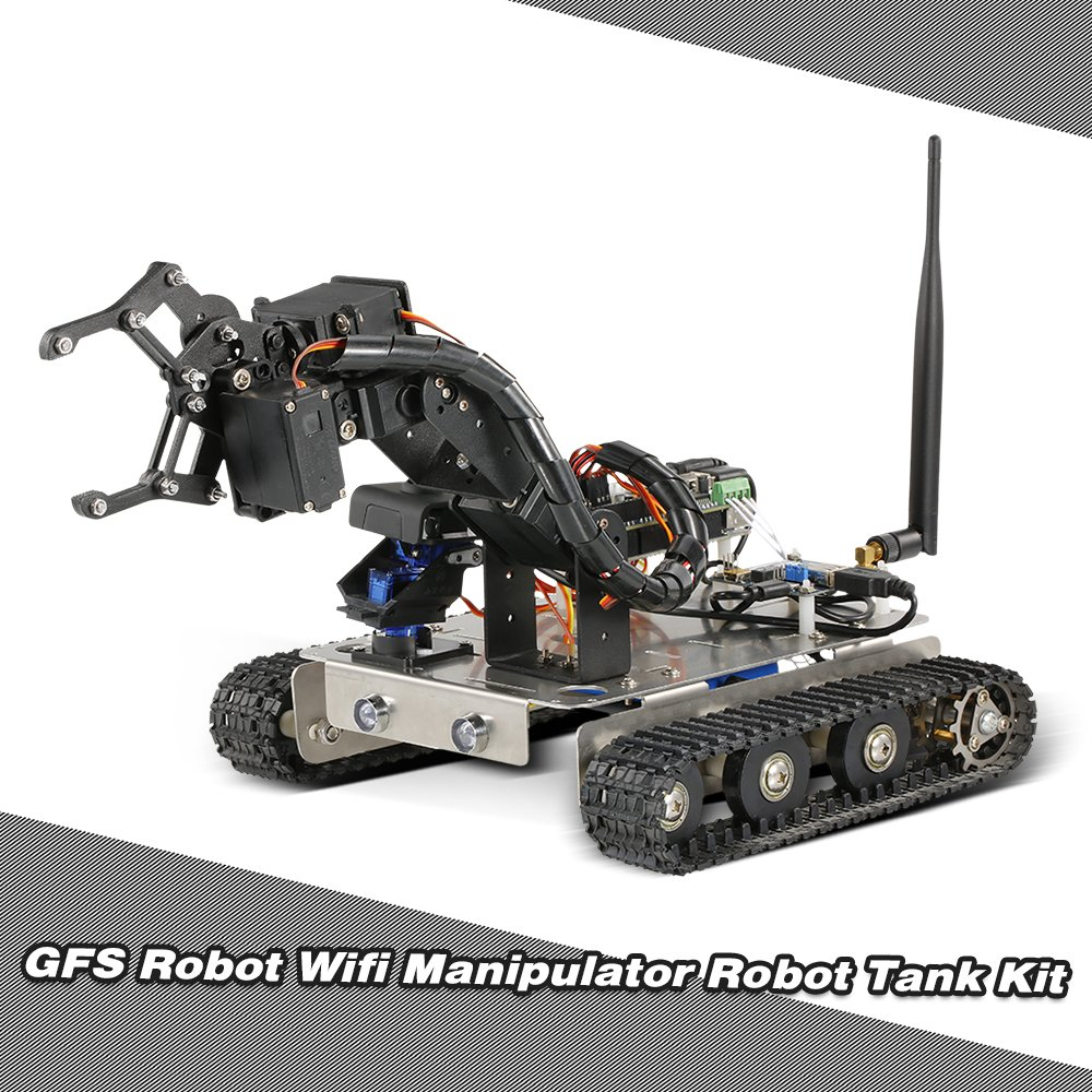 Goolsky GFS Robot Wifi Smart DIY Crawler RC Robot Tank with Manipulator 480P Camera PC Mobile Phone Control Education Tool by Goolsky (Image #6)