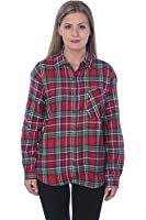 Dream In Colors Women's Brushed Cotton Flannel Plaid Button Down Shirt