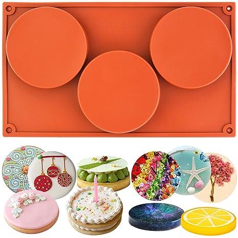 musykrafties 3-cavity redondas grandes Disco Caramelo Molde de silicona teacake Pastelería Fuente horno para