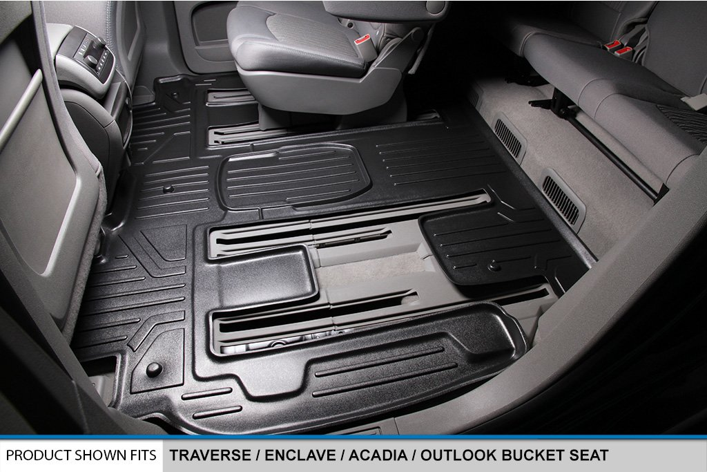Amazon.com: SMARTLINER Floor Mats 2 Row Liner Set Black for Traverse/Enclave/Acadia/Outlook (with 2nd Row Bucket Seats): Automotive