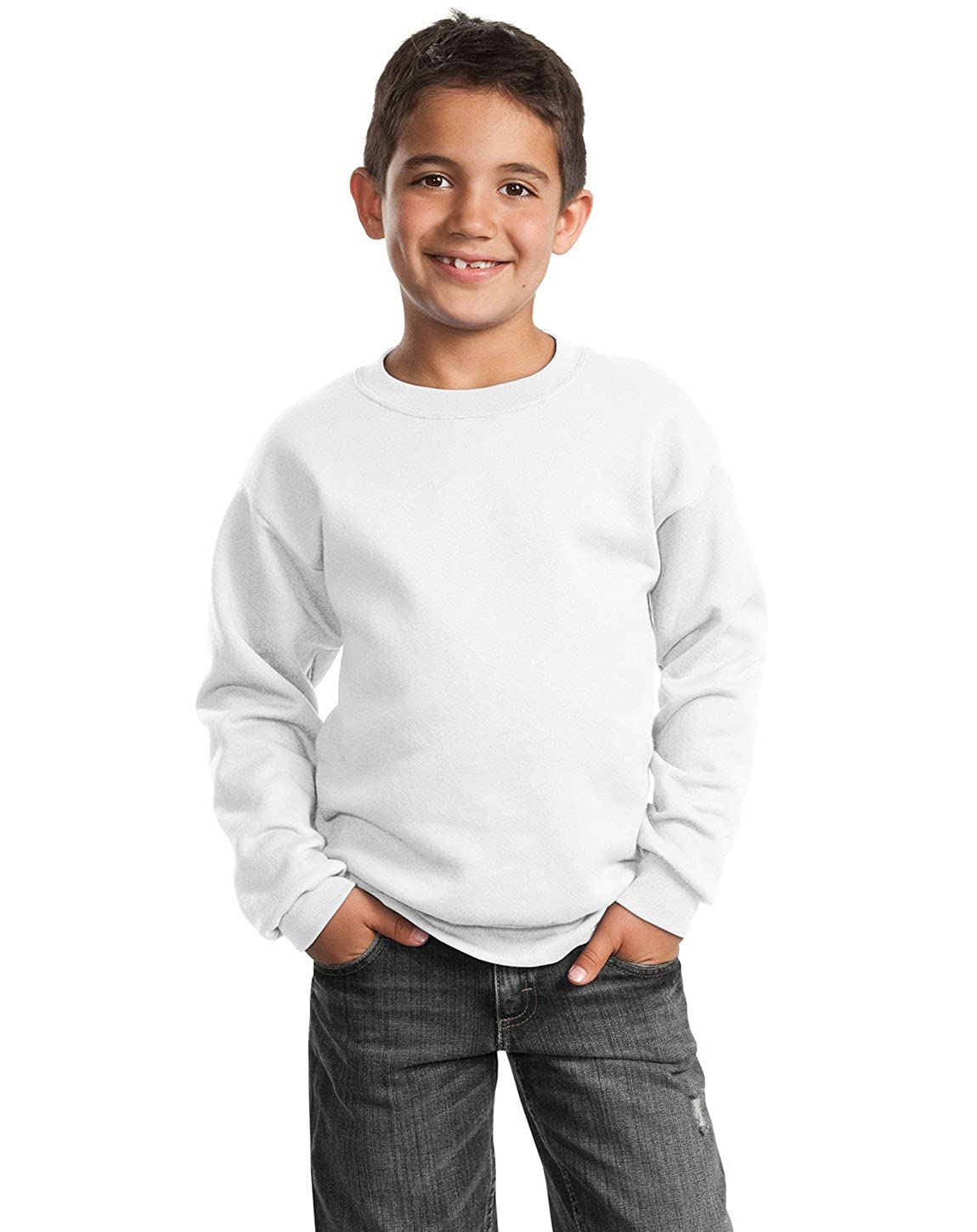XL Port /& Company PC90Y Youth Crewneck Sweatshirt White