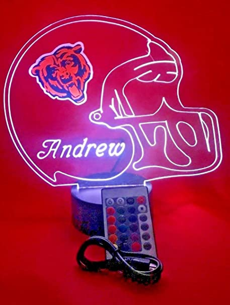 49c5389932e Chicago Bears NFL Light Lamp Light Up Hand Crafted Football Helmet Table  Lamp LED with Remote