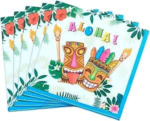 WERNNSAI Hawaiian Luau Party Supplies - 50PCS Tropical Tiki Aloha Party Napkins Disposable 3-Ply Luncheon Dinner Paper Napkins for Birthday Summer Pool Beach Party