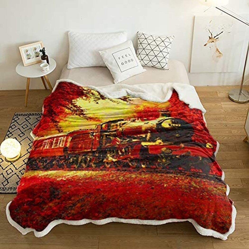 Amazon Com Train Quilts Oil Painting Style Red Forest Summer Train Quilts Queen Size Comforter With Cotton Quilts Banklet For Gifts Home Kitchen