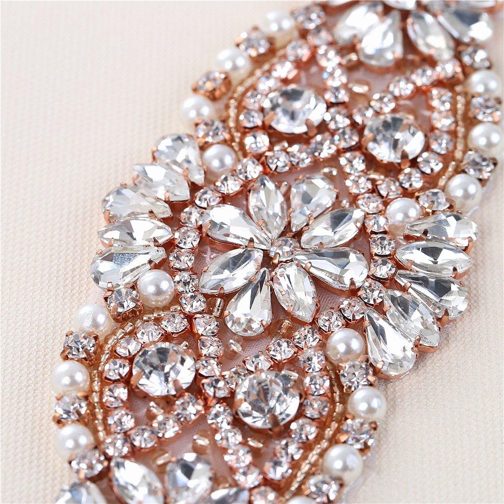 Applique del Rhinestone con los cristales y las perlas para el vestido  Headpieces Bolsos (oro de Rose)  Amazon.es  Hogar 757569d40c75