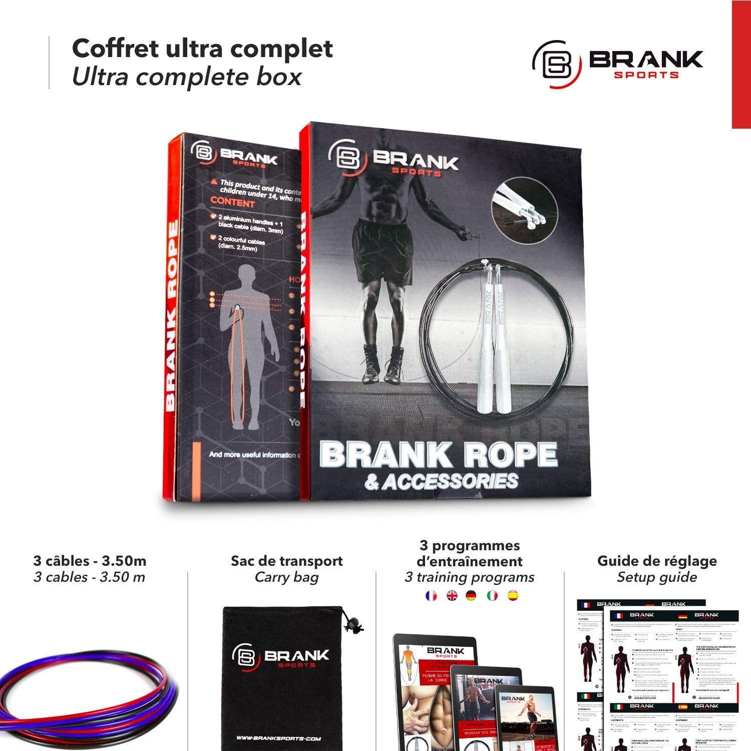 BRANK SPORTS® Speed rope incl. 3 steel spare cables | Ideal for Crossfit, fitness, boxing and easy double under | Skipping ropes for fitness women and ...