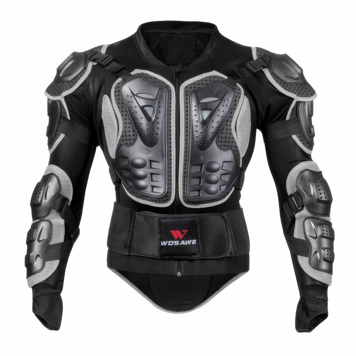 WOSAWE BMX Body Armor Mountain Bike Body Protection Long Sleeve Armored Motorcycle Jacket, Black XX-Large