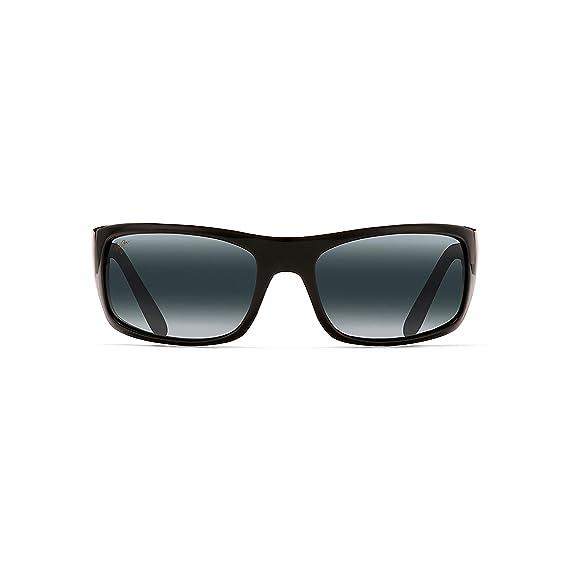 5dab948c467bc Maui Jim 202-02 Gloss Black Peahi Rectangle Sunglasses Polarised Driving