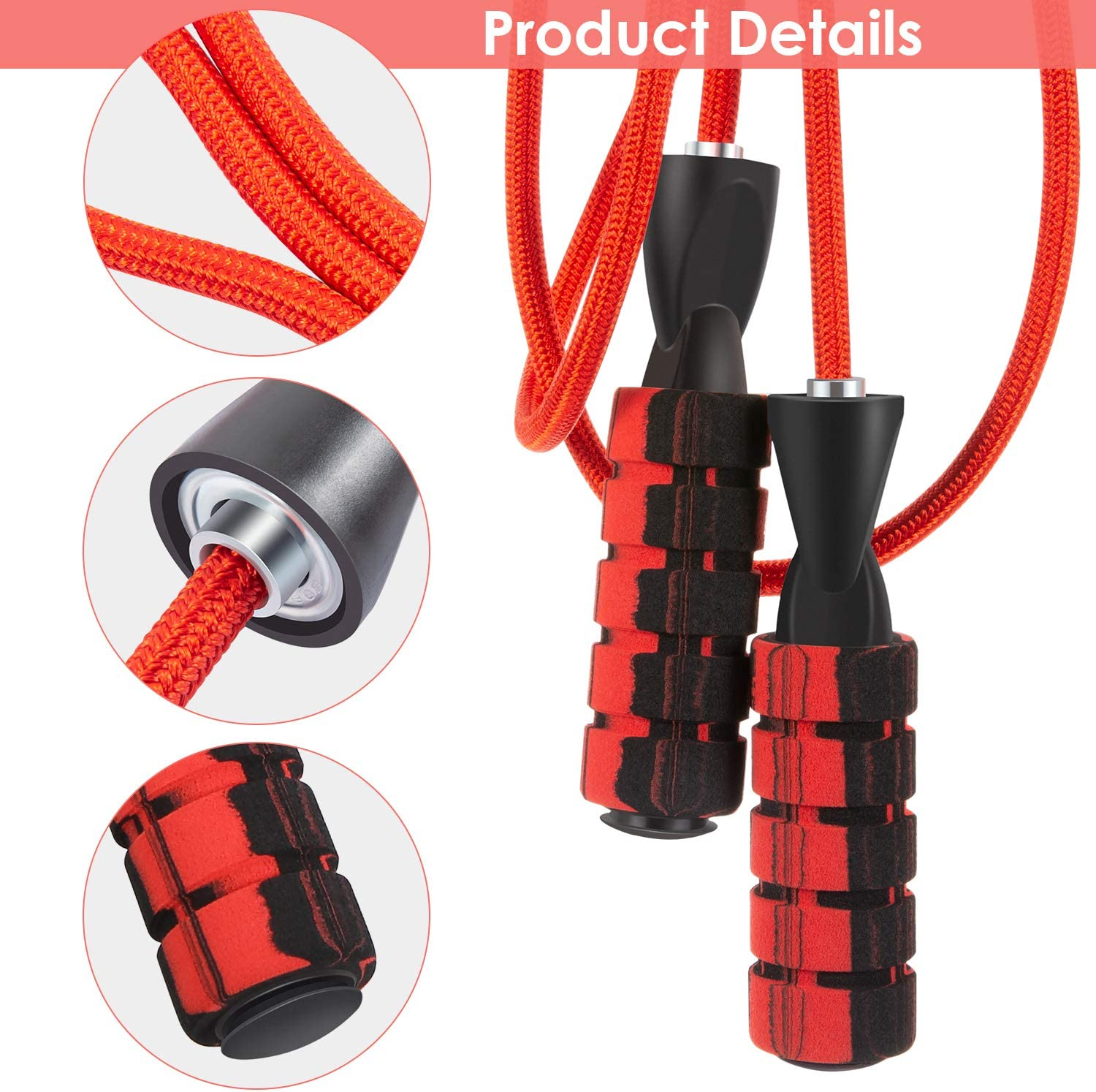 Exercise Training Adjustable Skipping Rope with Ball Bearings and Soft Pad Handgrip Jumping Rope Aerobic Fitness Workouts Body for Men Women Adult Kids Ehunt Jump Rope Tangle-Free