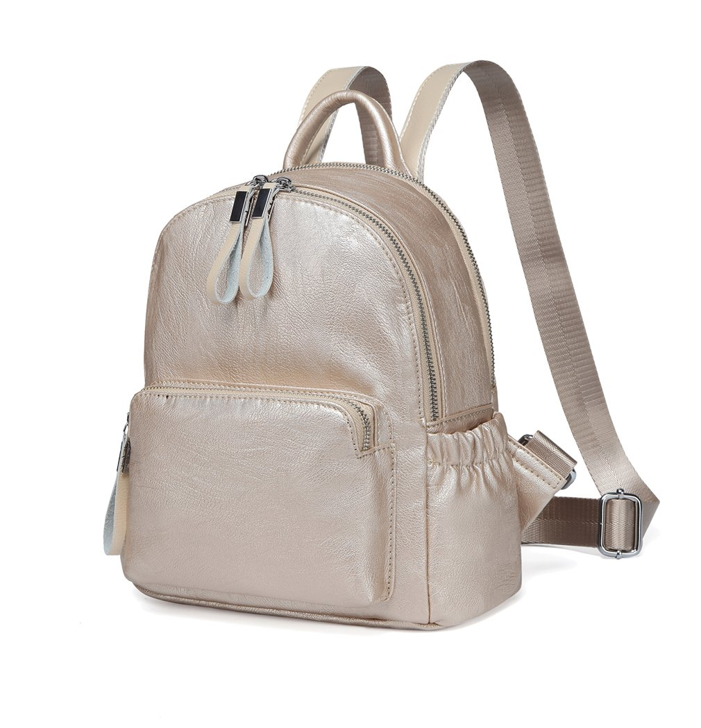 Mini Backpack Purse,Vaschy Faux Leather Small Backpack for Women and Girls(Light Gold)