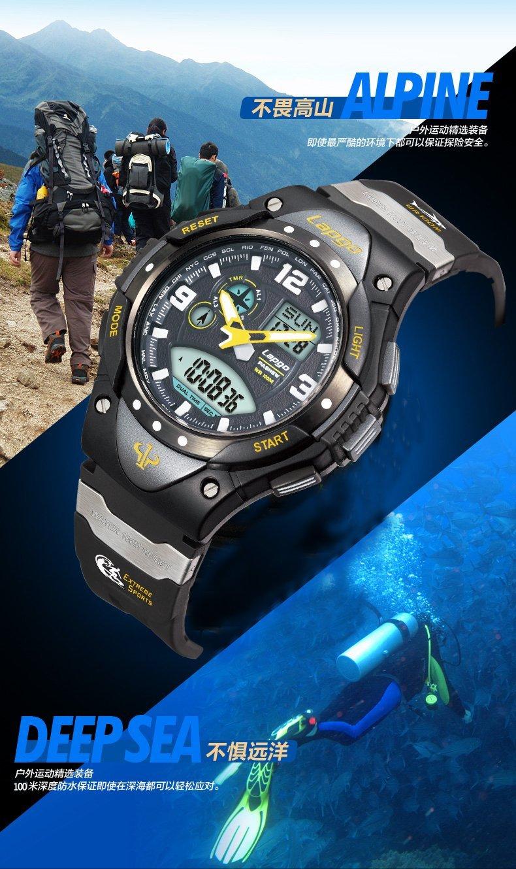 Boys Watches, Analog Digital Dual Time Watch Waterproof Sports Kids Wrist Watches 1018ad Yellow