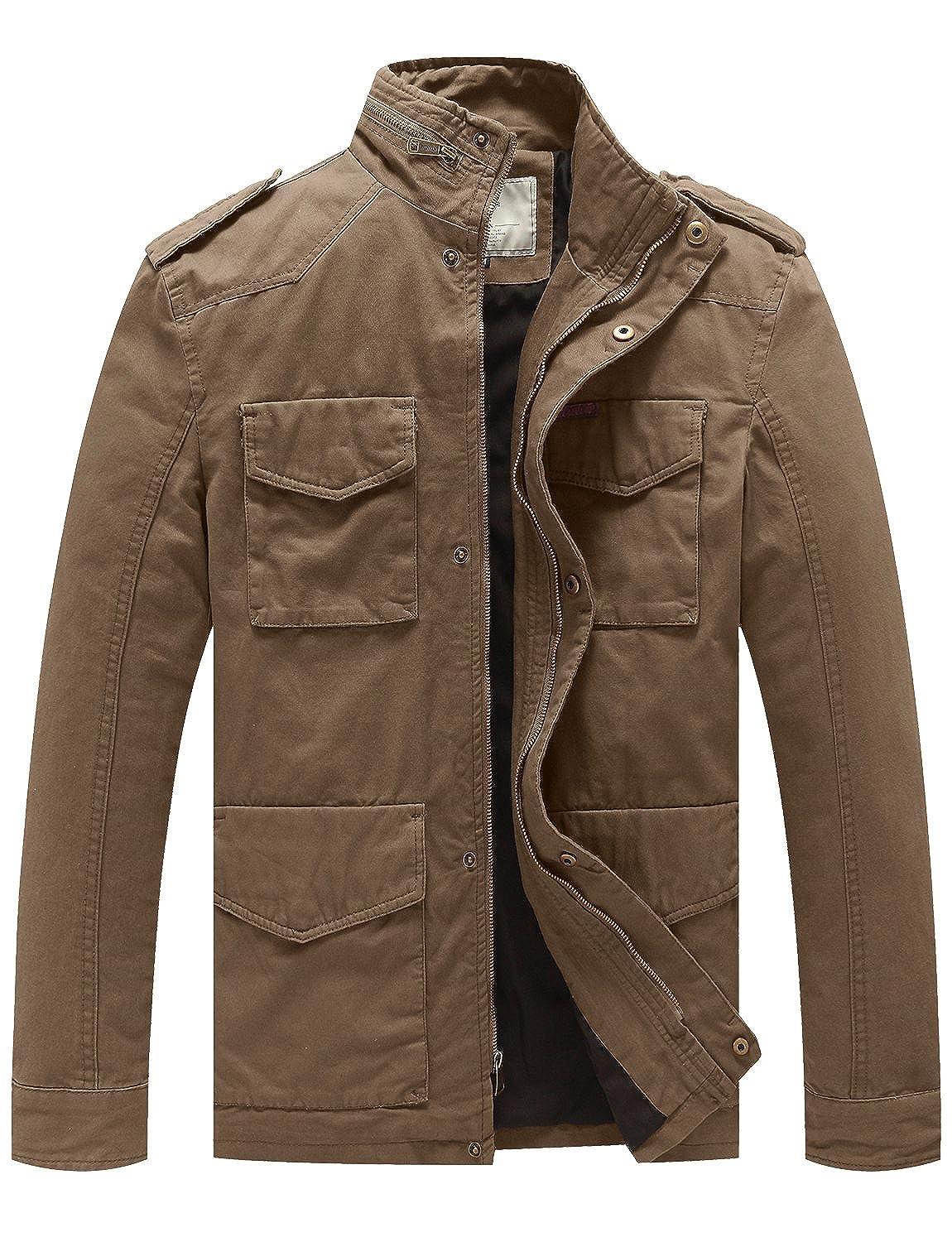 WenVen Men's Stand Collar Cotton Field Jacket wvmena0007