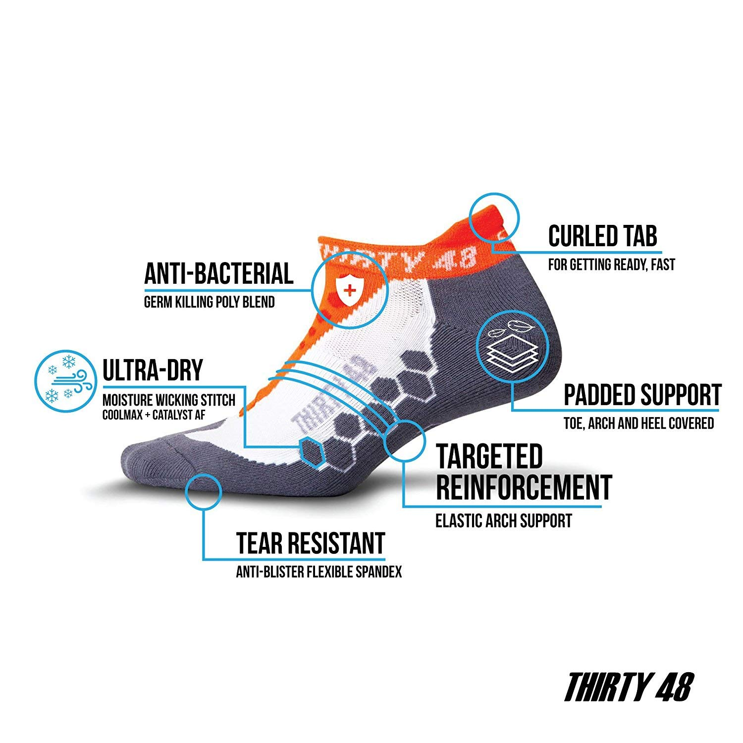or 6 Pair 1 Pair Thirty 48 Running Socks for Men and Women by Features Coolmax Fabric That Keeps Feet Cool /& Dry 3 Pair