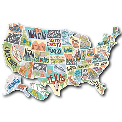 US States Map Travel Tracker Sticker Set | United States Adventure Decals | RV Motorhome Camper or Trailer Accessories | Large 22 x 13 in| Road Trip States Visited USA | Vinyl North America Version 3: Automotive